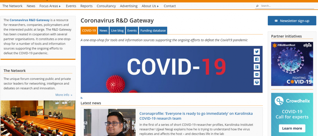 Science|Business launches 'Coronavirus R&D Gateway', a new portal for information about the pandemic
